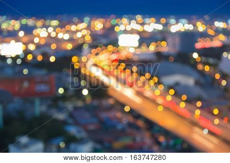 City blurred light highway road curved, abstract background