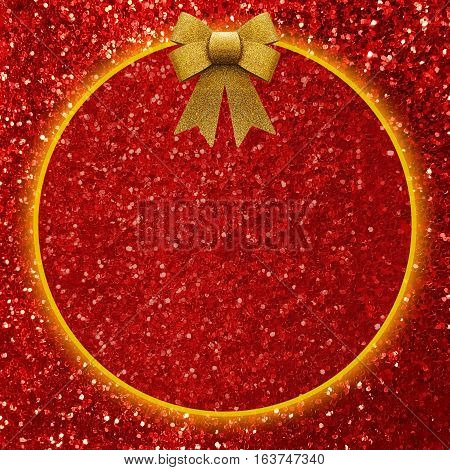 Shiny red glitter texture background with copy space and bow