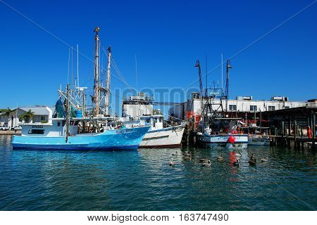 Florida, Usa - March 9: Fishing Boats Anchored At The Pier On March 9, 2014 In Florida, Usa. Florida