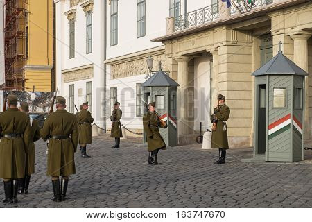 Hungarian Military Guard Daily Changing Ceremony At The Buda Castle In Front Of The The Residence Of