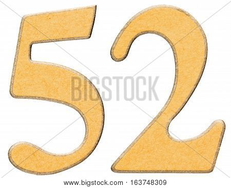 52, Fifty Two, Numeral Of Wood Combined With Yellow Insert, Isolated On White Background