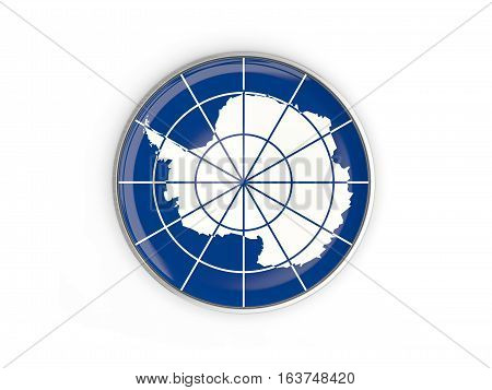 Flag Of Antarctica, Round Icon With Metal Frame