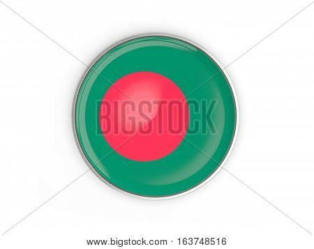 Flag Of Bangladesh, Round Icon With Metal Frame