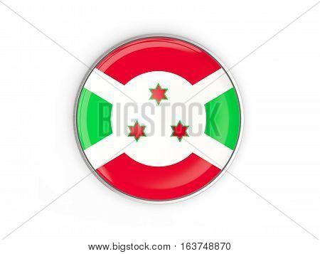Flag Of Burundi, Round Icon With Metal Frame
