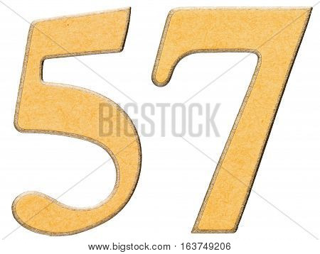 57, Fifty Seven, Numeral Of Wood Combined With Yellow Insert, Isolated On White Background