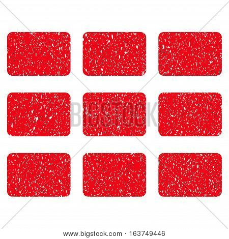 Rectangles Grid grainy textured icon for overlay watermark stamps. Flat symbol with dust texture. Dotted vector red ink rubber seal stamp with grunge design on a white background.