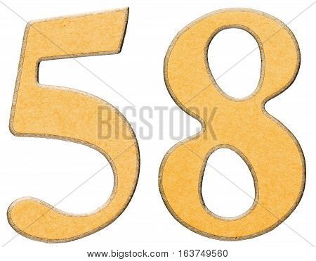 58, Fifty Eight, Numeral Of Wood Combined With Yellow Insert, Isolated On White Background