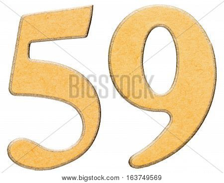 59, Fifty Nine, Numeral Of Wood Combined With Yellow Insert, Isolated On White Background