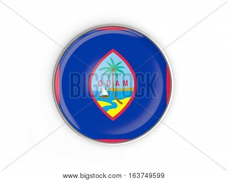 Flag Of Guam, Round Icon With Metal Frame
