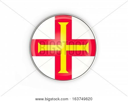 Flag Of Guernsey, Round Icon With Metal Frame