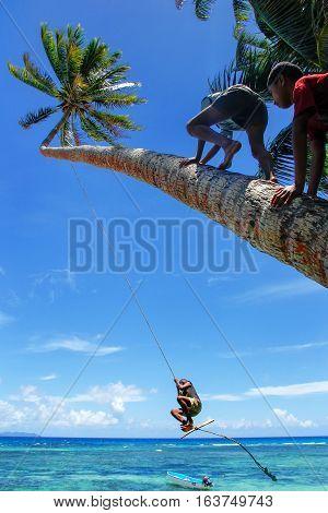 Lavena, Fiji - November 27: Unidentified Kids Swing On A Rope Swing On November 27, 2013 In Lavena V