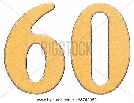 60, Sixty, Numeral Of Wood Combined With Yellow Insert, Isolated On White Background