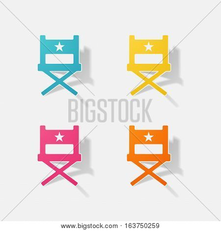 Sticker paper products realistic element design illustration director chair
