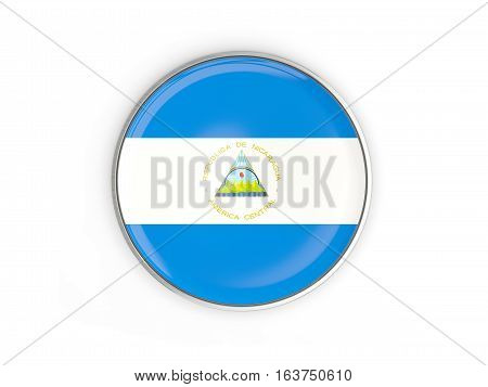 Flag Of Nicaragua, Round Icon With Metal Frame