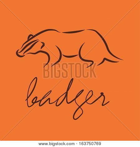 silhouette of a badger, template vector logo design. eps10