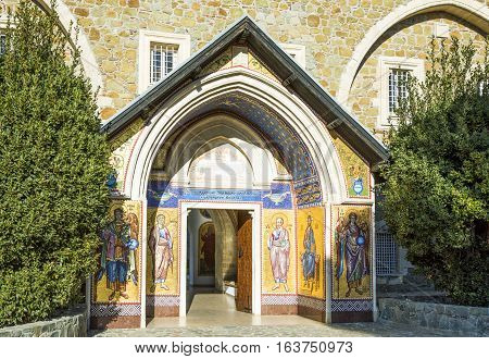 Kykkos, Greece - November 24, 2016: Cyprus island, the sacred paintings of the entry portal of the Kykkos monastery