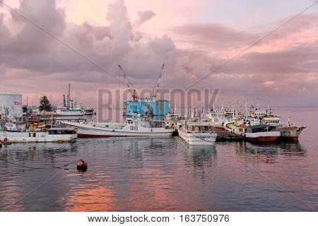 Suva, Fiji - December 2: Boats Anchored At The Port At Sunrise On December 2, 2013 In Suva On Viti L