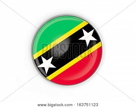 Flag Of Saint Kitts And Nevis, Round Icon With Metal Frame