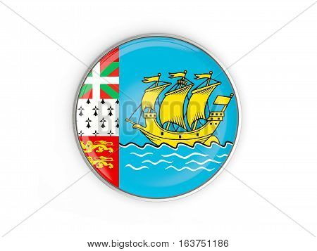 Flag Of Saint Pierre And Miquelon, Round Icon With Metal Frame