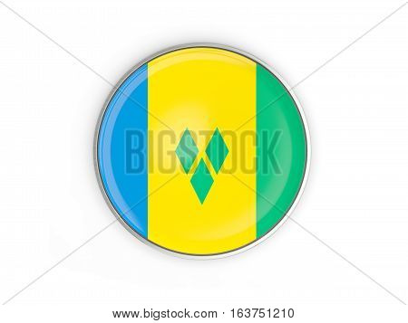 Flag Of Saint Vincent And The Grenadines, Round Icon With Metal Frame