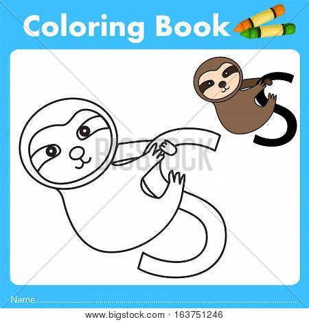 Illustrator of color book with sloth animal