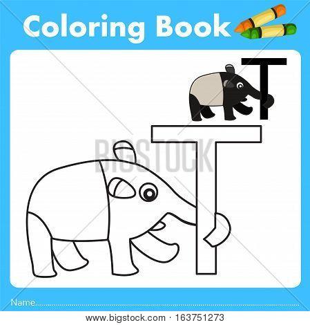 Illustrator of color book with tapir animal