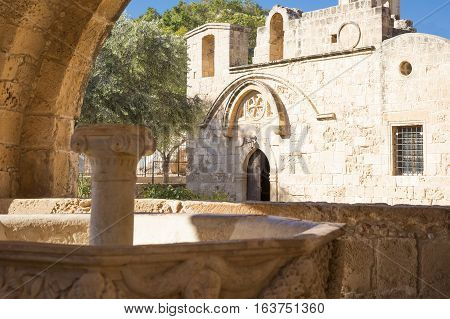Aya Napa, Greece - November 26, 2016: Cyprus island, the fountain in the courtyard of the Monastery (14th century)