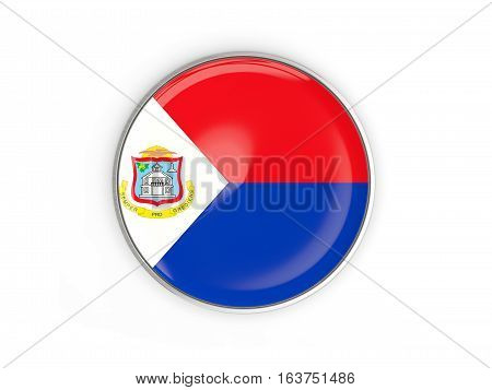 Flag Of Sint Maarten, Round Icon With Metal Frame