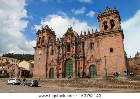 Cusco, Peru - January 20: Cathedral Basilica Of The Assumption Of The Virgin On Plaza De Armas On Ja