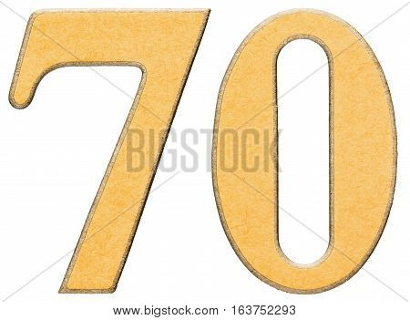 70, Seventy, Numeral Of Wood Combined With Yellow Insert, Isolated On White Background