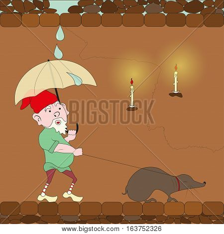 gnome walking with mole and closing an umbrella from the rain, eps10