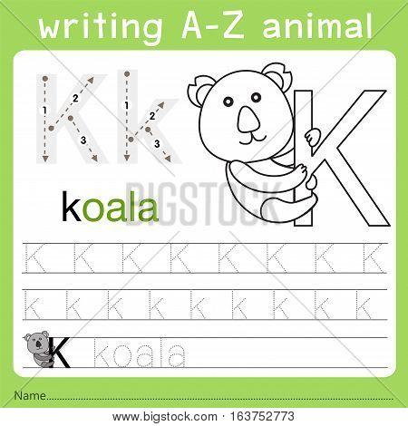 Illustrator of writing a-z animal k for kid