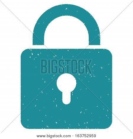 Lock grainy textured icon for overlay watermark stamps. Flat symbol with scratched texture. Dotted vector soft blue ink rubber seal stamp with grunge design on a white background.