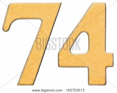 74, Seventy Four, Numeral Of Wood Combined With Yellow Insert, Isolated On White Background