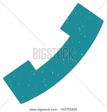 Phone Receiver grainy textured icon for overlay watermark stamps. Flat symbol with scratched texture. Dotted vector soft blue ink rubber seal stamp with grunge design on a white background.