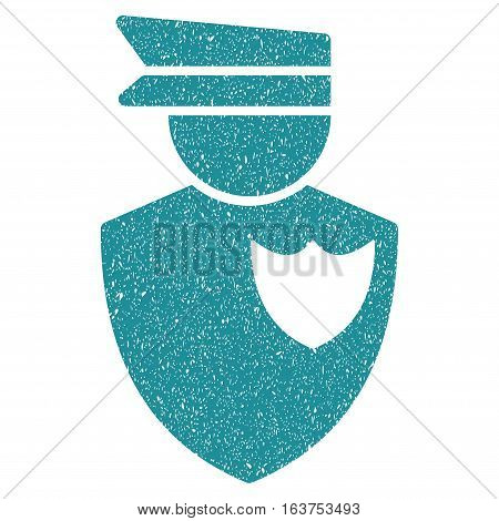 Policeman grainy textured icon for overlay watermark stamps. Flat symbol with scratched texture. Dotted vector soft blue ink rubber seal stamp with grunge design on a white background.