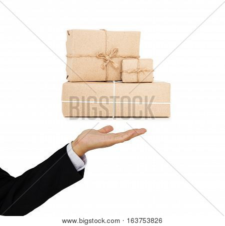 Businessman holding parcels post boxes on hand, delivery industry cargo business concept