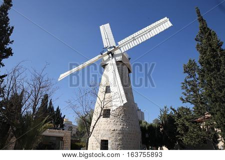 The Montefiore Windmill is a landmark windmill in Jerusalem, Israel. Designed as a flour mill, it was built in 1857 on a slope opposite the western city walls of Jerusalem