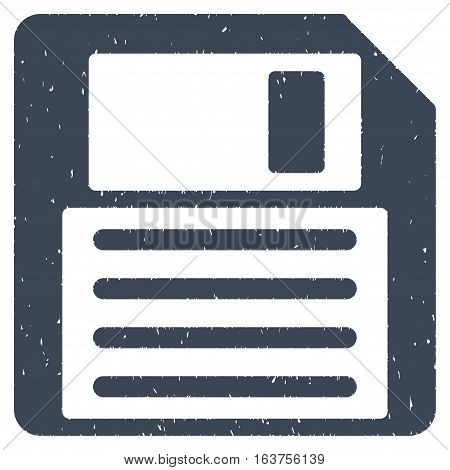 Floppy grainy textured icon for overlay watermark stamps. Flat symbol with scratched texture. Dotted vector smooth blue ink rubber seal stamp with grunge design on a white background.