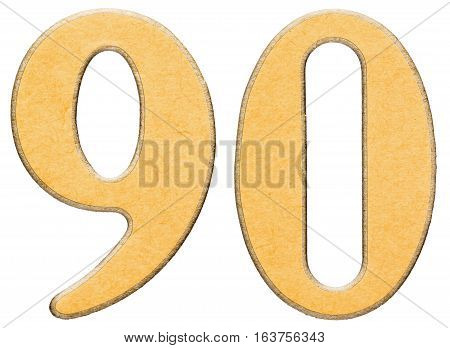 90, Ninety, Numeral Of Wood Combined With Yellow Insert, Isolated On White Background