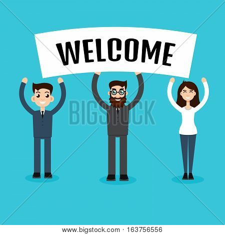 Businessmans with banners welcome.  Vector stock illustration.