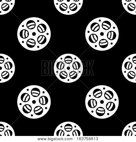 Cinema retro movies cinema reel icon seamless pattern, tiling ornament. Vector illustration