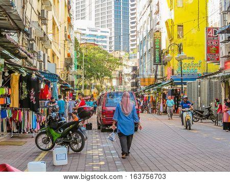 KUALA LUMPUR, MALAYSIA - JANUARY 13, 2014: Little India  district, Kuala Lumpur, Malaysia