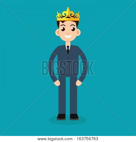 businessman crown character icon illustration vector stock