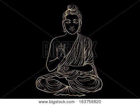 Drawing of a Buddha statue. Art vector illustration of Gautama - gold line art on a black background. Buddhism Religion