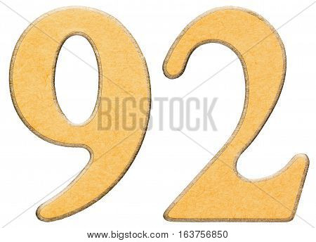 92, Ninety Two, Numeral Of Wood Combined With Yellow Insert, Isolated On White Background