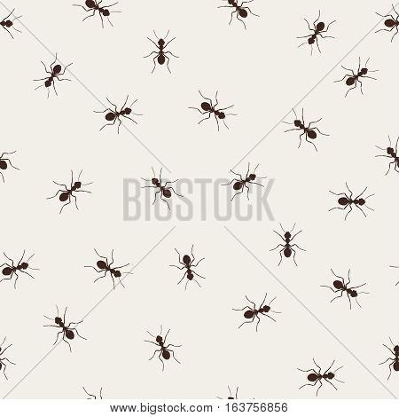 Ant monochromic pattern vector illustration. Black little ants on light background