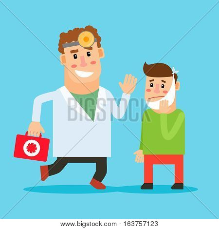 Dentist cartoon character. Stomatologist and patient with toothache. Vector illustration