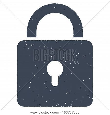 Lock grainy textured icon for overlay watermark stamps. Flat symbol with unclean texture. Dotted vector smooth blue ink rubber seal stamp with grunge design on a white background.