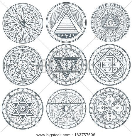 Mystery, witchcraft, occult, alchemy, mystical vintage gothic vector tattoo symbols. Mystical masonic symbols set illustration